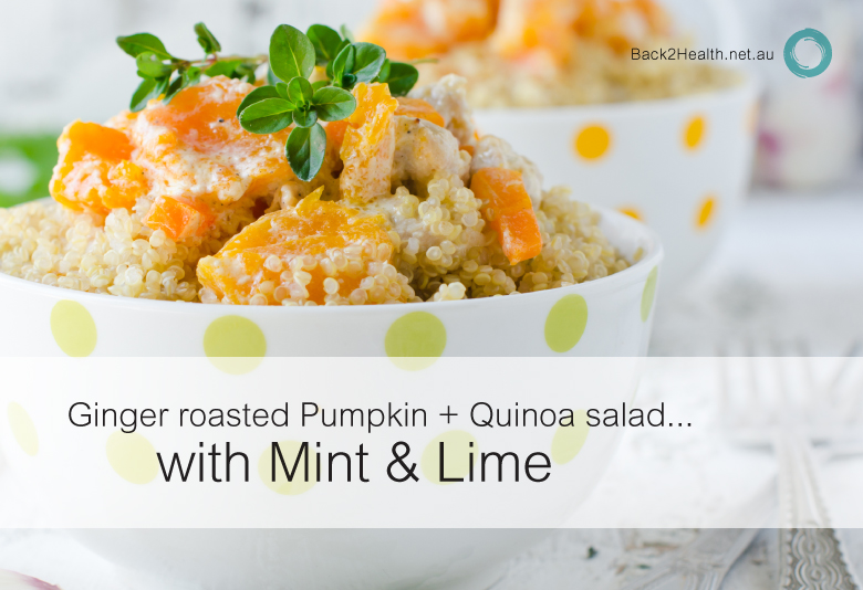 Ginger roasted pumpkin + quinoa salad with mint & lime
